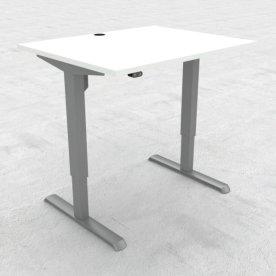 Compact hæve/sænkebord, 100x80 cm, Hvid/alu