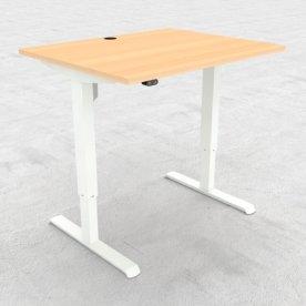 Compact hæve/sænkebord, 100x80 cm, Bøg/hvid