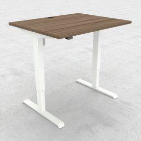 Compact hæve/sænkebord, 100x80 cm, Valnød/hvid