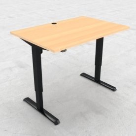 Compact hæve/sænkebord, 120x80 cm, Bøg/sort