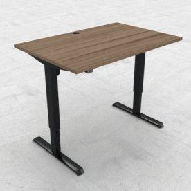 Compact hæve/sænkebord, 120x80 cm, Valnød/sort