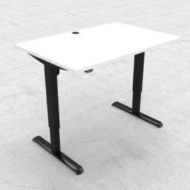 Compact hæve/sænkebord, 120x80 cm, Hvid/sort