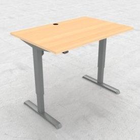 Compact hæve/sænkebord, 120x80 cm, Bøg/alu