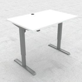 Compact hæve/sænkebord, 120x80 cm, Hvid/alu