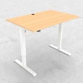 Compact hæve/sænkebord, 120x80 cm, Bøg/hvid