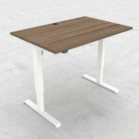 Compact hæve/sænkebord, 120x80 cm, Valnød/hvid