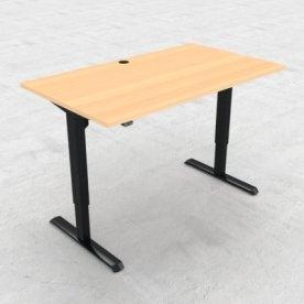 Compact hæve/sænkebord, 140x80 cm, Bøg/sort