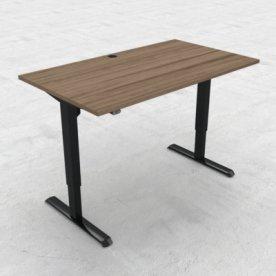 Compact hæve/sænkebord, 140x80 cm, Valnød/sort