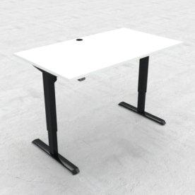 Compact hæve/sænkebord, 140x80 cm, Hvid/sort