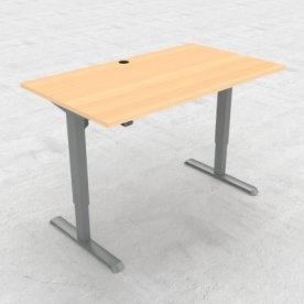 Compact hæve/sænkebord, 140x80 cm, Bøg/alu