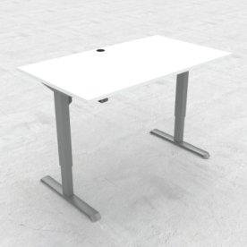 Compact hæve/sænkebord, 140x80 cm, Hvid/alu