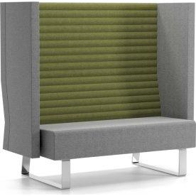 DEMO: Mr. Box høj 2 pers sofa grå/grøn ryg/krom
