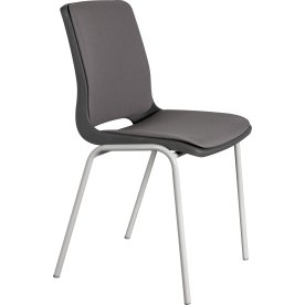 Ana stol med krom, polster grå/gråt sæde