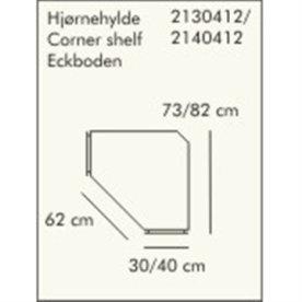 ABC dyb hjørnehylde, 30 cm, hvidlaseret