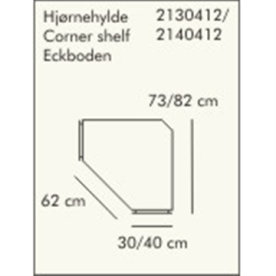 ABC dyb hjørnehylde, 40 cm, hvidlaseret