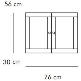 ABC Dobbeltskab m. trælåger, 76x30 cm, natur