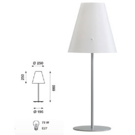 Athene bordlampe hvid, skærm alu fod