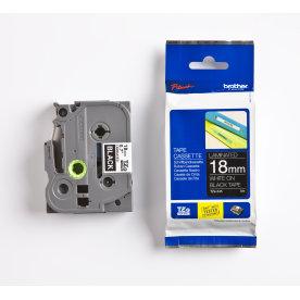 Brother TZe-345 labeltape 18mm, hvid på sort