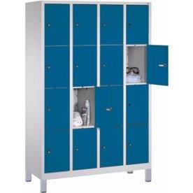 CP garderobeskab, 4x4 rum, Ben,Cylinderlås,Grå/Blå
