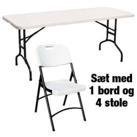 Park sæt til 4 pers. , 1 klapbord + 4 klapstole