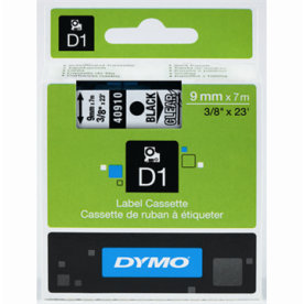 Dymo D1 labeltape 9mm, sort på klar
