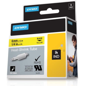 Dymo Rhinopro, 12 mm, krympeflex tape, hvid