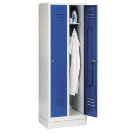 CP Classic garderobeskab 2x1 rum, Sokkel, Grå/Blå