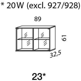 Mistral sektion 023 Glasskab snehvid