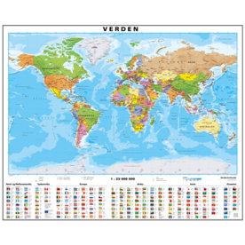 Lamineret Verdenskort 107 x 87 cm