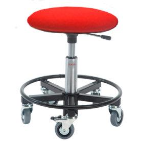 Montørstol m/ fodring, polstret sæde, rød