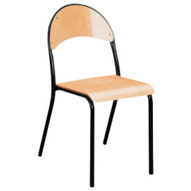 De luxe stabelstol lys bøg 25 mm med sort stel