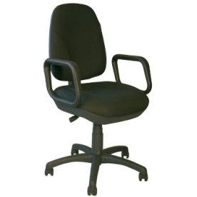 Deluxe kontorstol med armlæn, sort