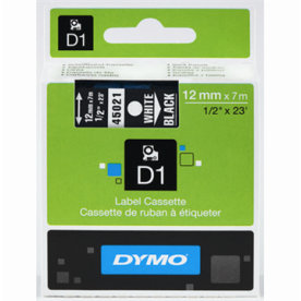 Dymo D1 labeltape 12mm, hvid på sort