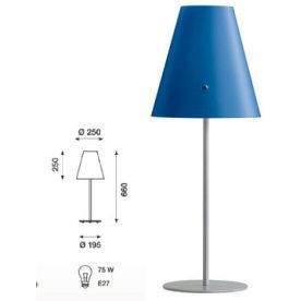 Athene bordlampe blå, skærm alu fod