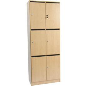 Garderobebokse i træ m/6 rum og brevindkast