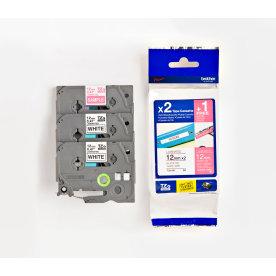 Brother TZe-32M3 labeltape 12mm, sort på hvid, 2st