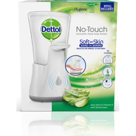 Dettol No-Touch dispenser + Aloe Vera sæbe, hvid