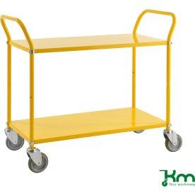 Rullebord 2 hylder, 1070x450x940, 250 kg, Gul