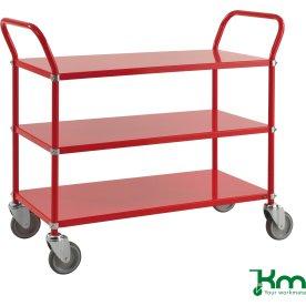 Rullevogn 3 hylder, 1070x450x940, 250 kg, Rød