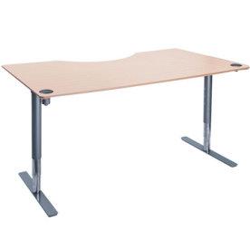 Flex hæve/sænkebord alu/bøg 180 cm, centerbue