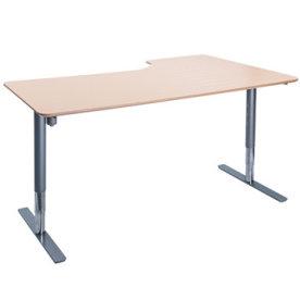 Flex hæve/sænkebord alu/bøg 180 cm, venstrevendt