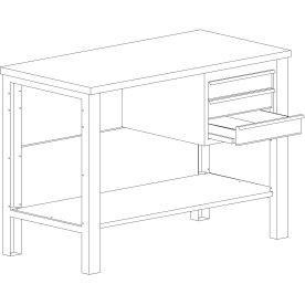 Basic arbejdsbord - 3 x skuffe/1 x underhylde, Blå