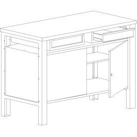 Basic arbejdsbord - 2 x skuffe/2 x underskab, Blå