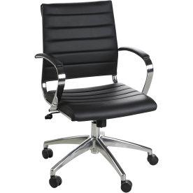 Rico konferencestol i sort PU med krom stel