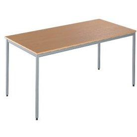 Kantinebord, 160x80 cm bøg med alufarvet stel