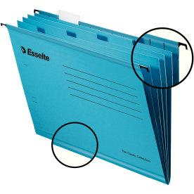 Esselte hængemappe m.4 faner A4, blå 10 stk