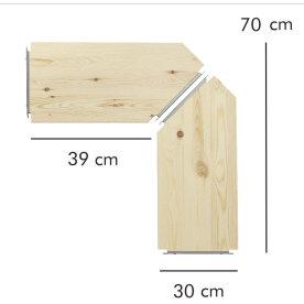 ABC hjørnehylder, 2 stk., 30 cm, natur