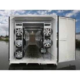 Dækreol-indretning af 20 fods container, 120 dæk