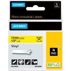 Dymo Rhino Vinyltape 12mm, sort på gul