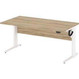 Budgetline hæve/sænkebord 150x80, hvid/eg